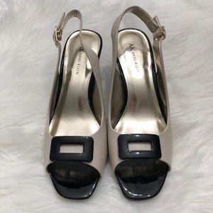 NWT Anne Klein two-tone peep-toe shoes, size 9M